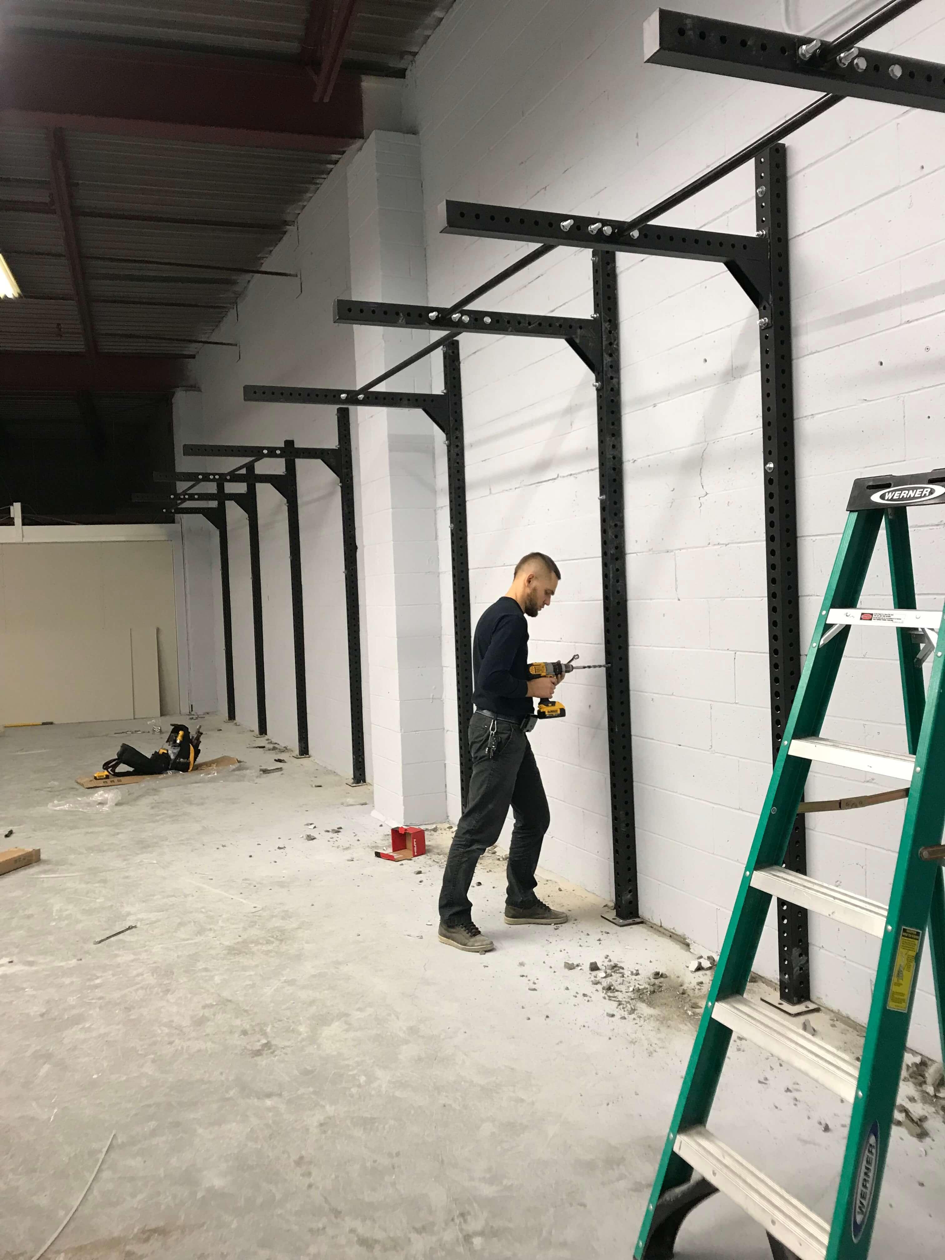 sport equipment on wall installation 2