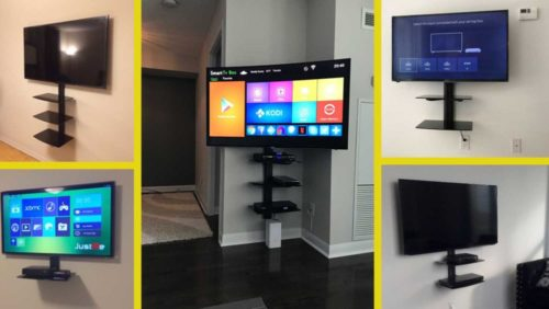 Get 20$ off on your tv installation + wire concealment + single/double/triple shelves